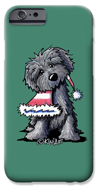 Kim Drawings iPhone Cases - Bouvier des Flandres Puppy iPhone Case by Kim Niles