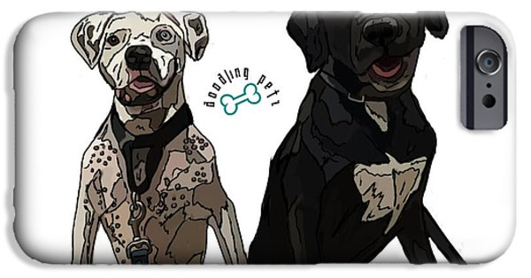 Boxer Digital Art iPhone Cases - Bowie and Nala iPhone Case by Doodling  Petz