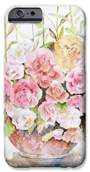 Bowl Full Of Roses iPhone Case by Arline Wagner