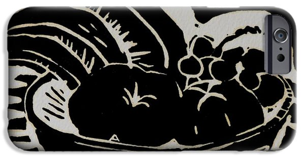 Food And Beverage Reliefs iPhone Cases - Bowl of Fruit Lino Print iPhone Case by Caroline Street