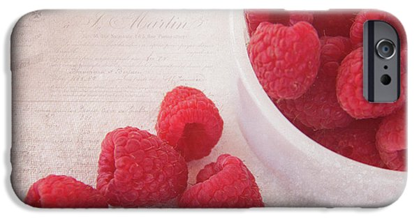 Raspberry iPhone Cases - Bowl Of Red Raspberries iPhone Case by Cindi Ressler