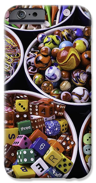 Mending iPhone Cases - Bowls Full Of Marbles And Dice iPhone Case by Garry Gay