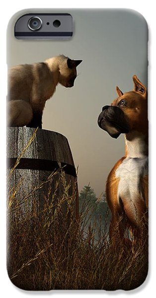 Boxer iPhone Cases - Boxer and Siamese iPhone Case by Daniel Eskridge