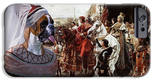 Boxer iPhone Cases - Boxer Art Canvas Print - The reverence to the Queen  iPhone Case by Sandra Sij