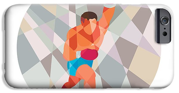 Punching Digital iPhone Cases - Boxer Boxing Punching Circle Low Polygon iPhone Case by Aloysius Patrimonio