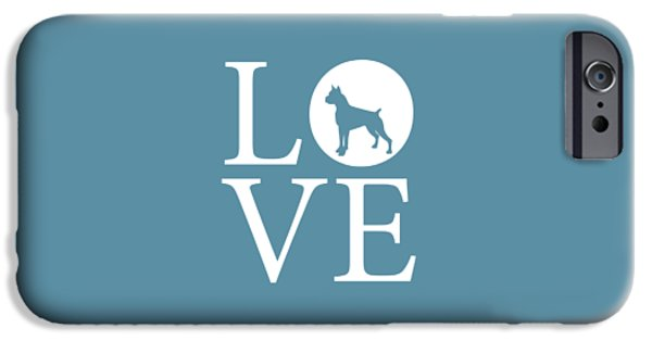 Owner Digital iPhone Cases - Boxer Love iPhone Case by Nancy Ingersoll