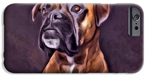 Boxer Digital iPhone Cases - Boxer Portrait iPhone Case by Scott Wallace