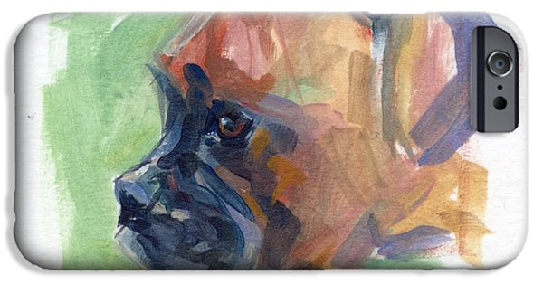 Boxer Paintings iPhone Cases - Boxer Pup iPhone Case by Kimberly Santini
