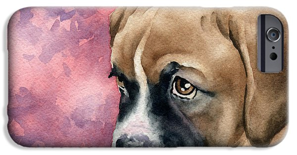 Puppies iPhone Cases - Boxer Puppy iPhone Case by David Rogers