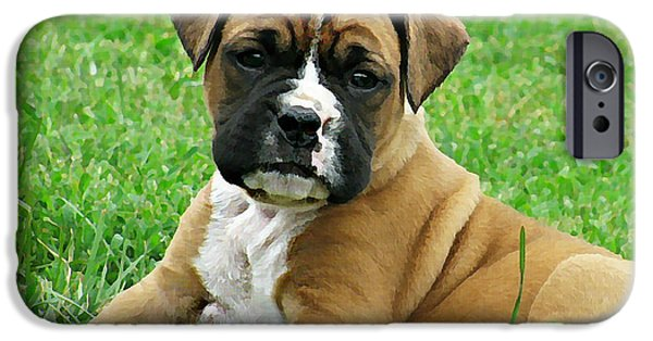 Boxer Digital Art iPhone Cases - Boxer Puppy iPhone Case by Linda Zielinski