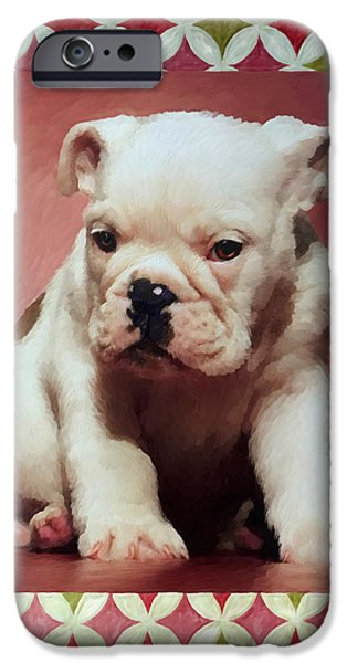 Boxer Puppy iPhone Cases - Boxer Puppy Painting iPhone Case by Enzie Shahmiri