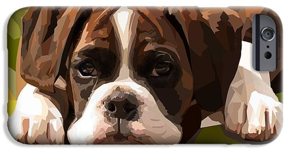 Puppies Digital iPhone Cases - Boxer Puppy iPhone Case by Romilda Bozzetti