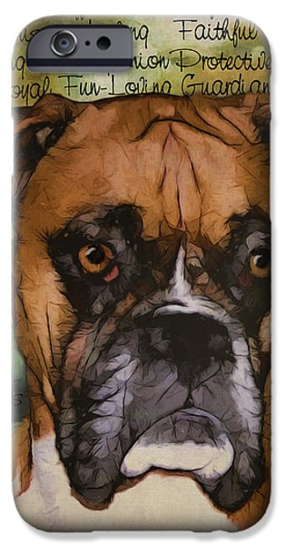 Boxer Digital Art iPhone Cases - Boxer iPhone Case by Sherry Wemple