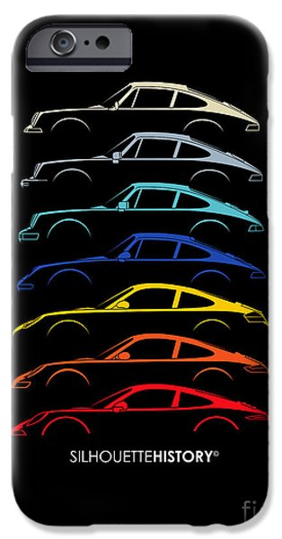 Boxer Digital Art iPhone Cases - Boxer Sports Car SilhouetteHistory iPhone Case by Gabor Vida