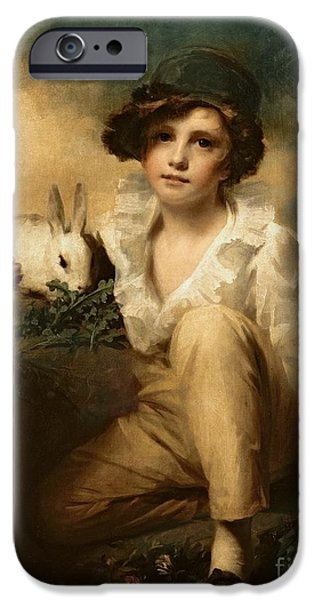 Child iPhone Cases - Boy and Rabbit iPhone Case by Sir Henry Raeburn