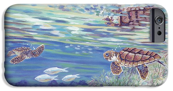 Ocean Turtle Paintings iPhone Cases - Boy Meets Girl iPhone Case by Danielle  Perry