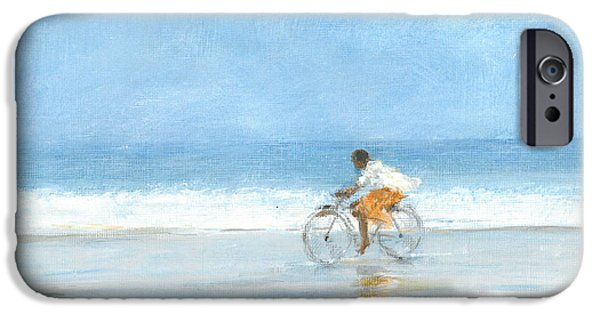 Cycling Drawings iPhone Cases - Boy On A Bike  One iPhone Case by Lincoln Seligman