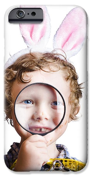 Youthful iPhone Cases - Boy on Easter hunt iPhone Case by Ryan Jorgensen