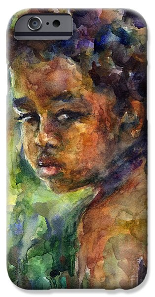 Child Drawings iPhone Cases - Boy Watercolor Portrait iPhone Case by Svetlana Novikova