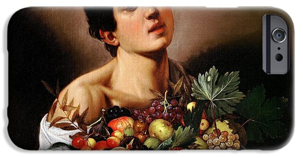 Young Paintings iPhone Cases - Boy with a Basket of Fruit iPhone Case by Celestial Images