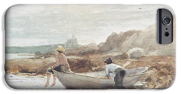 Boat Paintings iPhone Cases - Boys on the Beach iPhone Case by Winslow Homer