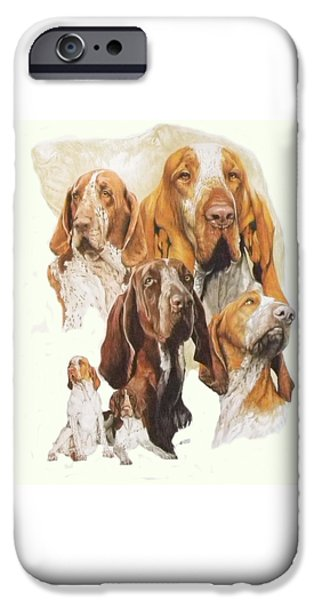 Canine Mixed Media iPhone Cases - Bracco Italiano w/Ghost iPhone Case by Barbara Keith