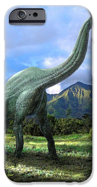 Brachiosaurus In Meadow iPhone Case by Frank Wilson