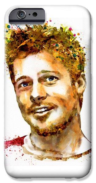 Mustaches iPhone Cases - Brad Pitt Watercolor Portrait iPhone Case by Marian Voicu