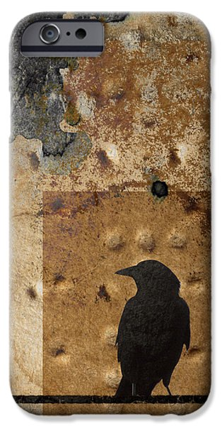 Montage iPhone Cases - Braille Crow iPhone Case by Carol Leigh