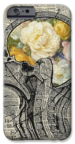 Monochrome Mixed Media iPhone Cases - Brain full of flowers Dictionary Art iPhone Case by Jacob Kuch