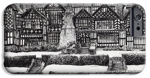 Pen And Ink iPhone Cases - Bramall Hall iPhone Case by Vincent Alexander Booth