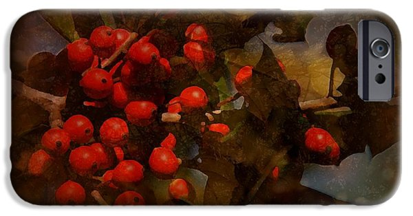 Berry Digital iPhone Cases - Branch Of Berries iPhone Case by Angie Tirado