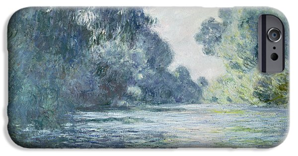 Blue iPhone Cases - Branch of the Seine near Giverny iPhone Case by Claude Monet