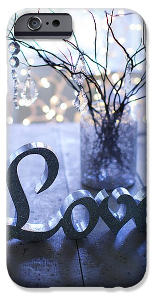 Bokeh iPhone Cases - Branches With Ornaments In Jar And Love iPhone Case by Ink and Main