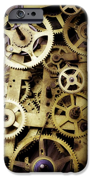 Precise iPhone Cases - Brass Clock Gears iPhone Case by Garry Gay