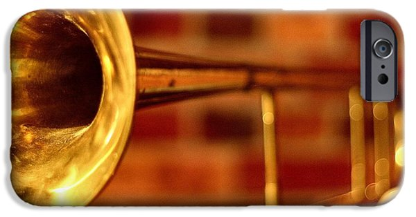 Music iPhone Cases - Brass Trombone iPhone Case by David  Hubbs