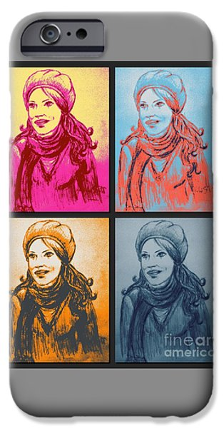 Brave Mixed Media iPhone Cases - Braving The Storm Pop Art iPhone Case by Joan-Violet Stretch