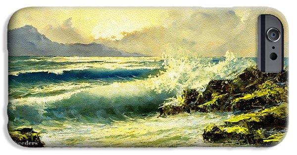 Digital Art Pastels iPhone Cases - Breakers on the Rocks H a iPhone Case by Gert J Rheeders