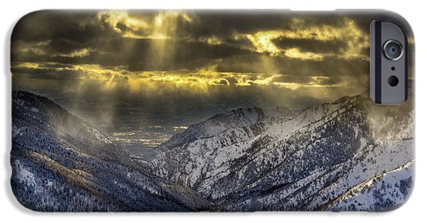 Winter Storm iPhone Cases - Breaking Clouds iPhone Case by Howie Garber