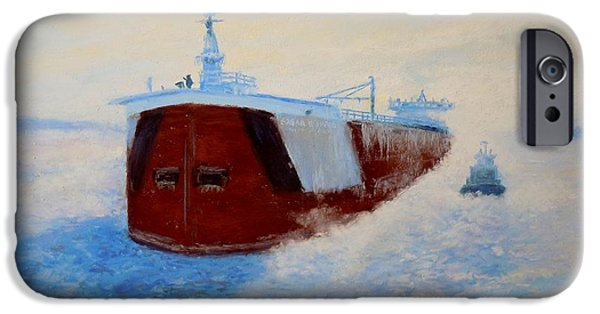 Speer iPhone Cases - Breaking Ice For The Edgar B. Speer in Sturgeon Bay iPhone Case by Bethany Kirwen