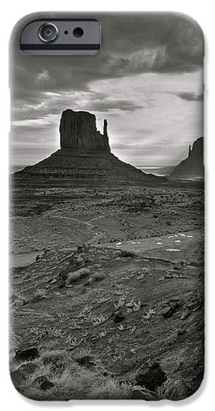 Breaking Light at Monument Valley - Black and White iPhone Case by Brian Stamm