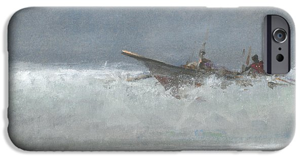 Storm Drawings iPhone Cases - Breaking The Surf  Sri Lanka iPhone Case by Lincoln Seligman