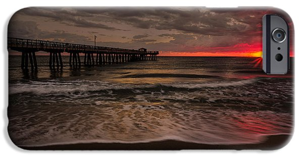 Sun Rays Pyrography iPhone Cases - Breaking Waves at the Pier iPhone Case by Rick Strobaugh