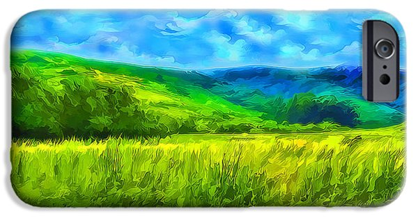 Rural iPhone Cases - Bright Green Meadow - Marin California iPhone Case by Joel Bruce Wallach