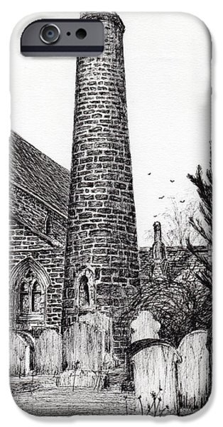 Religious Drawings iPhone Cases - Brechin Round Tower iPhone Case by Vincent Alexander Booth