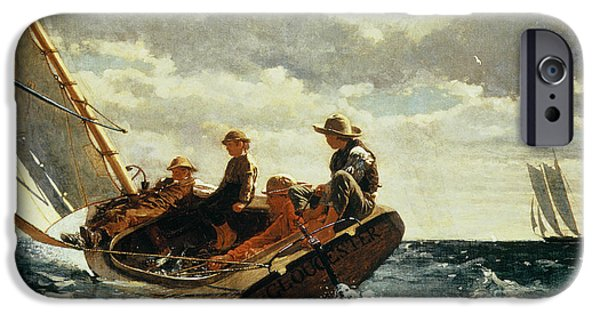 Sailing Paintings iPhone Cases - Breezing Up iPhone Case by Winslow Homer
