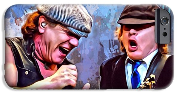 Digital Designs iPhone Cases - Brian Johnson with Angus Young iPhone Case by Scott Wallace