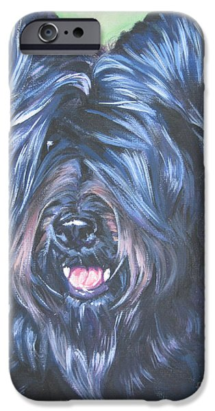Black Dog iPhone Cases - Briard with cropped ears iPhone Case by Lee Ann Shepard