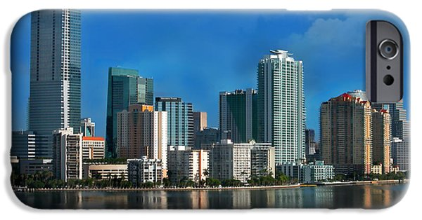 Miami Photographs iPhone Cases - Brickell Skyline 2 iPhone Case by Bibi Romer