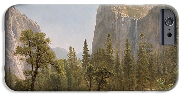 Pines iPhone Cases - Bridal Veil Falls Yosemite Valley California iPhone Case by Albert Bierstadt